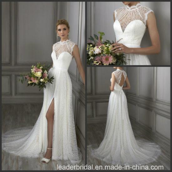 Lace Bridal Wedding Gowns Sleeveless Beach A-Line Wedding Dress Wdo69