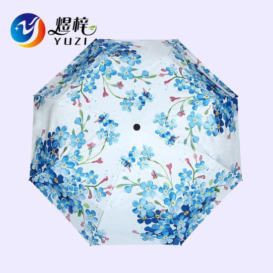 Good Quality Printed Anti UV 3 Folding Sun Umbrella Gift Umbrella