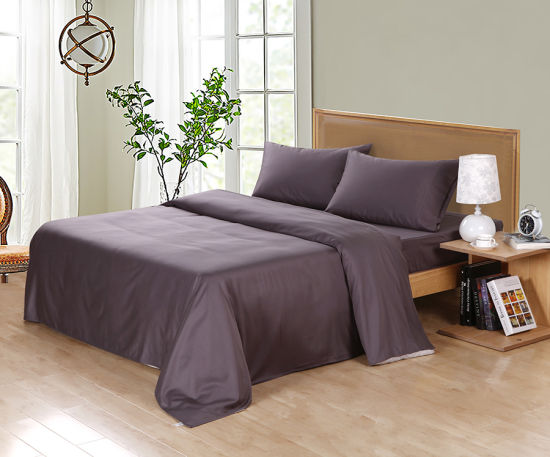 600tc Bamboo Cotton Bed Sheet Set Charcoal Color pictures & photos