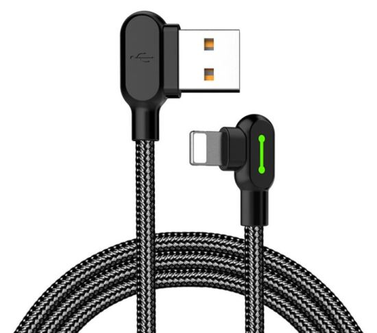 Right Angle Cell Phone Cable, Nylon Braided with Indicator Light