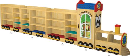 Kindergarten Wooden Train Shape Toy Cabinet