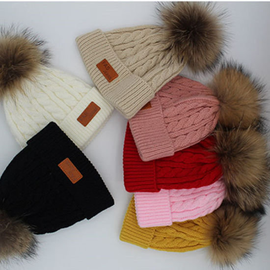 Wholesale Knitted Pure Cashmere Raccoon Fur Pompom Hat