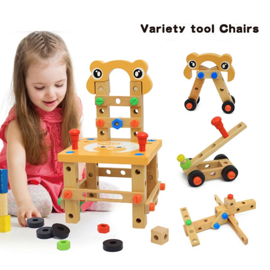 Wooden Screw Block Activity Working Chair Construction Children Wooden Toys (GY-W0032)