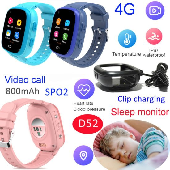 LTE IP67 Waterproof Accurate GPS Tracking Device Video Call Safe SOS Smart Watch Tracker with Temperature for Emergency Help D52