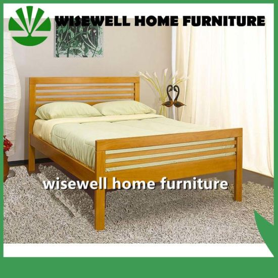 Pine Wood Latest Double Bed Designs (WJZ B77)