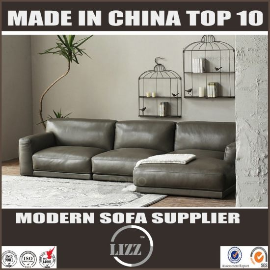 Top Grain Leather Solid Wood Construction Leather Sofa