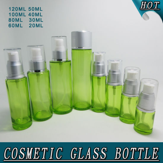 Green Glass Airless Pump Bottle Screen Printing pictures & photos