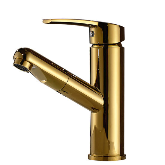 Flg Gold Painting Pull out Basin Faucet for Bathroom