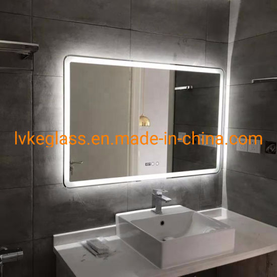 China Illuminated Smart Led Light Bathroom Mirror With Lights Digital Clock Bluetooth Defogger Touch Screen China Led Mirror Led Light