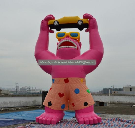 Giant Inflatable Gorilla Animal Replica Balloon / Huge Inflatable Monkey with Banner