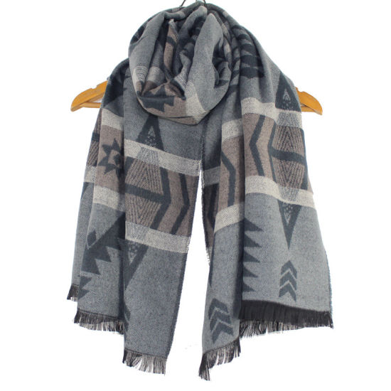 Short-Bearded Woven Jacquard Scarf for Men and Women in Autumn and Winter