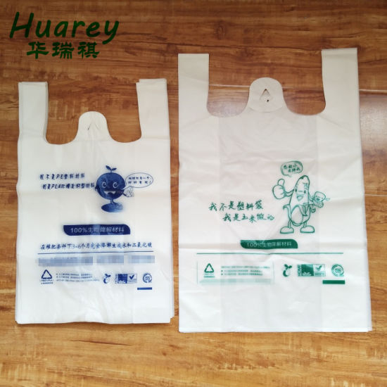 High Quality Thick Organic Durable Reusable T Shirt Compostable Biodegradable Shopping Bags