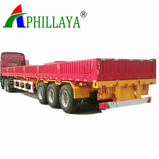 Top Side Wall Detachable Flatbed Box Trailer for Cargo Transport