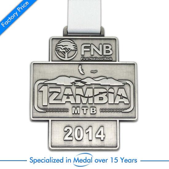 Antique Silver 3D Souvenir Marathon Run Medal with Ribbon