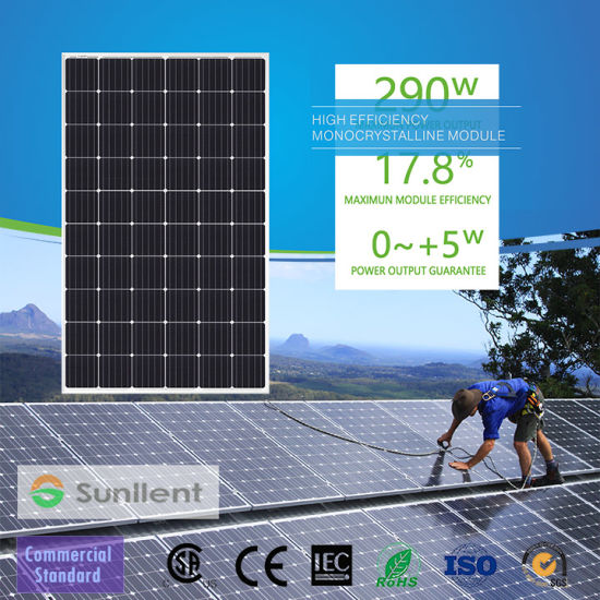 295W High Efficiency Photovoltaic Module Monocrystalline Solar Panel