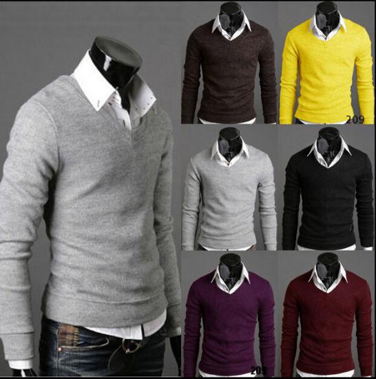Man's Sweater Pullover Pure Color V Neck Acrylic Wholesale