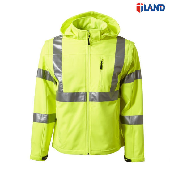 3 in 1 High Visibility Reflective Soft Shell Jacket Coat