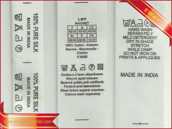 Satin Wash Care Label Garment Printed Satin Label