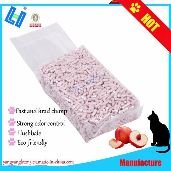 Hot Sell Tofu Cat Litter with Peach Scent, Fast Clump