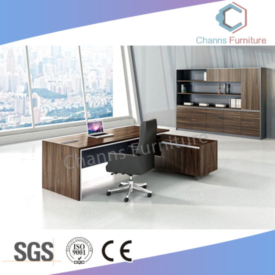 Luxury U Shape Office Table Wooden Executive Desk With Cabinet