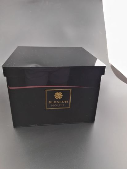 Black or Other Color of Acrylic Rose Box with Lid, with Company Logo Branded