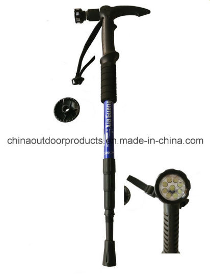 Antishock Hiking Stick Walking Stick with Compass LED Flashlight (ET-411) pictures & photos