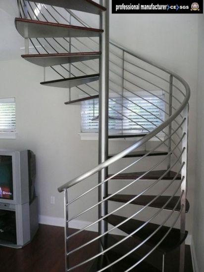 Modern Steel Glass Stair Railing Spiral Staircase Design