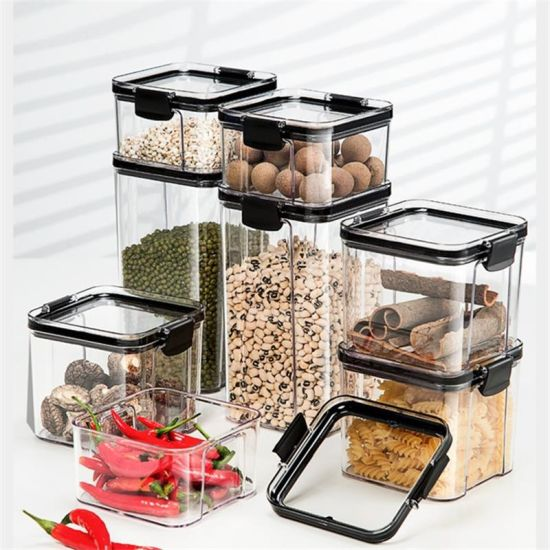 4 Different Capacity Sealed Cans Plastic Kitchen Storage Box Food Canister pictures & photos