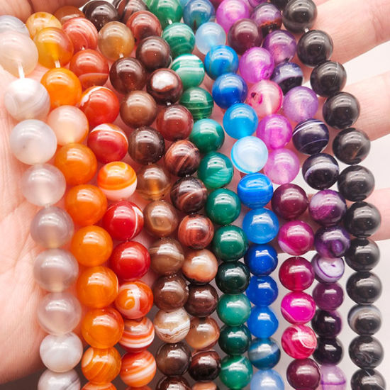 Dyed The Color Natural Loose Stone Beads Stripe Agate Polished Round Gemstone Beads