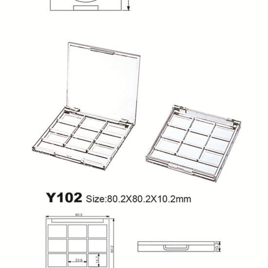 Unique Shape 9 Color Plastic Eye Shadow Palette Case Compact Box Cosmetic Packaging Y102