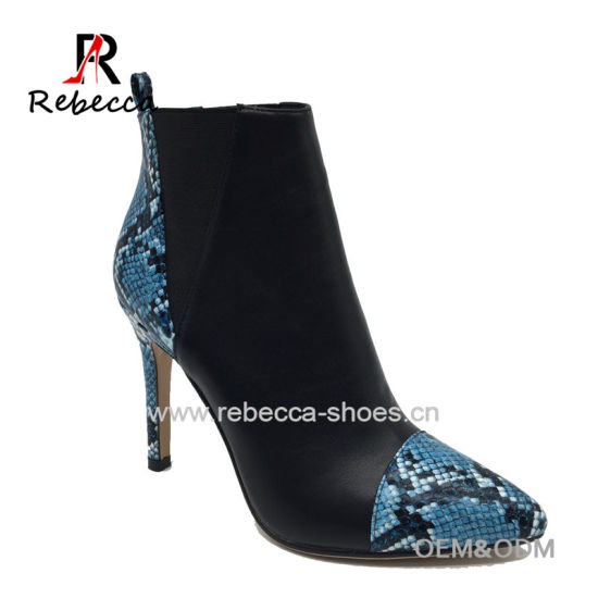 OEM Lady Ankle Boots Python Skin PU Hademade Pointed Toe Stilettos Heel Shoes Wholesale