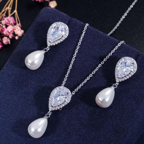 Ivory Pearl Pear CZ Stone Necklace Jewelry Set Include Ring Wedding CZ Jewelry Bridal CZ Necklace Jewelry Fashion Necklace Jewelry Set