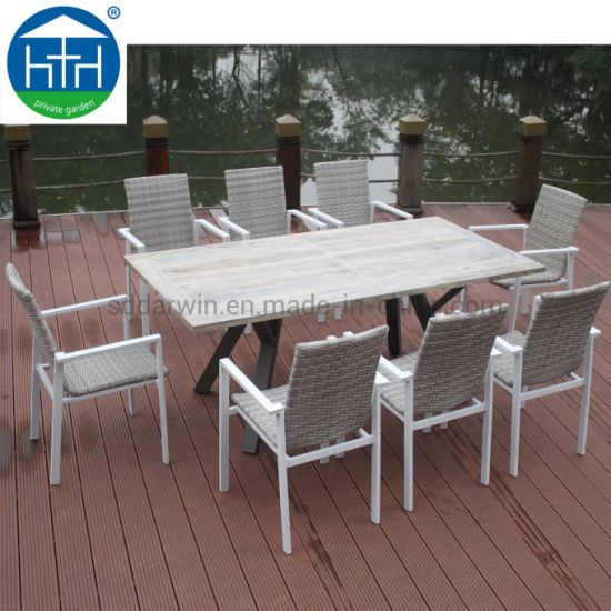 China Simple Cheap Rectangular Glass Top Patio Chairs Rattan Outdoor Dining Table Set China Terrace Dining Furniture Terrace Dining Table