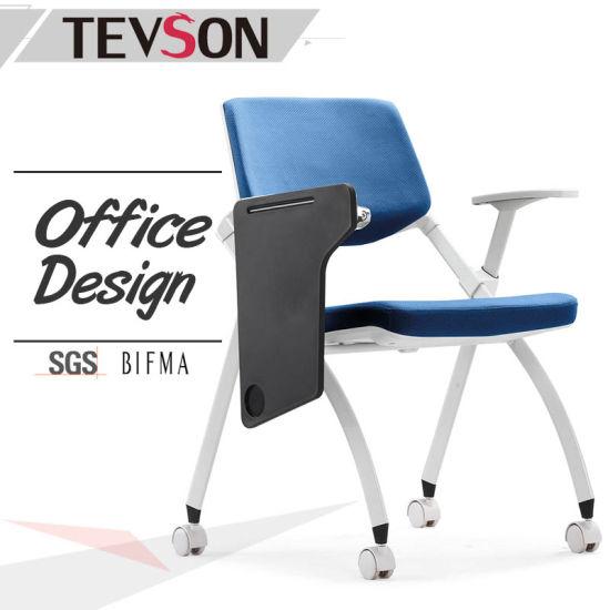 BIFMA Standard Fabric Foldable Training Chair With Writing Pad