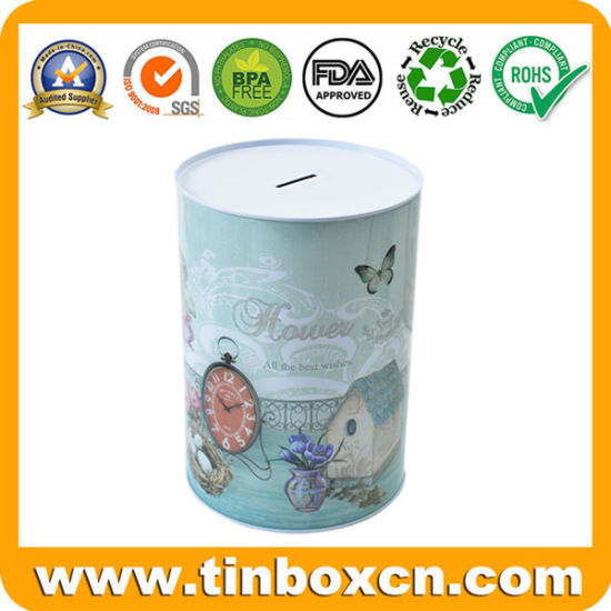 Round Metal Tin Money Box for Coin Bank Packaging pictures & photos