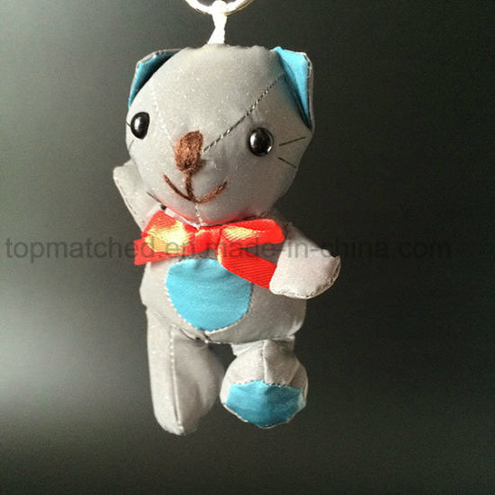 China Soft Kitty Mini Cat Reflective Plush Toy For Bag Hanger