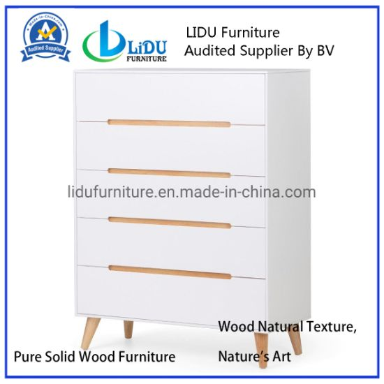 5 Slide Drawer Wood Small White Corner Storage Cabinet with Drawers Superior Materials Multi Drawer Cabinet Wooden