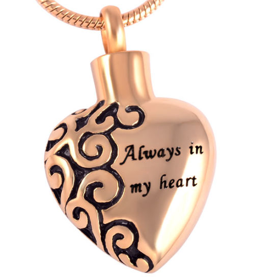 Hot Selling Always in My Heart Cremation Pendant Urn Keepsake 316L Stainless Steel Memorial Ashes Jewelry pictures & photos
