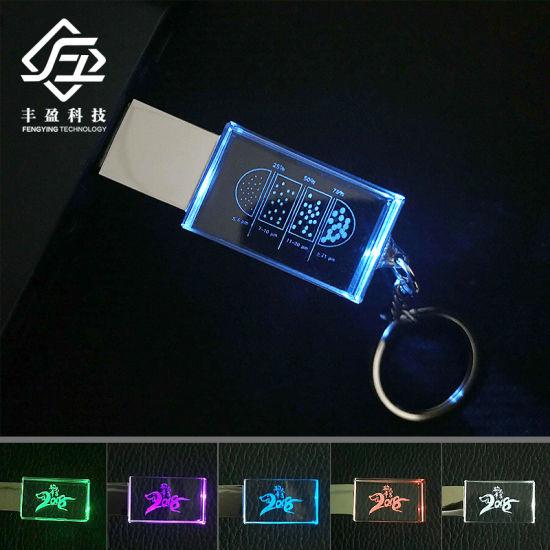 Custom Engrave Logo Crystal LED Light USB Flash Drive Stick 8GB 16GB 32GB 64GB with Keychain