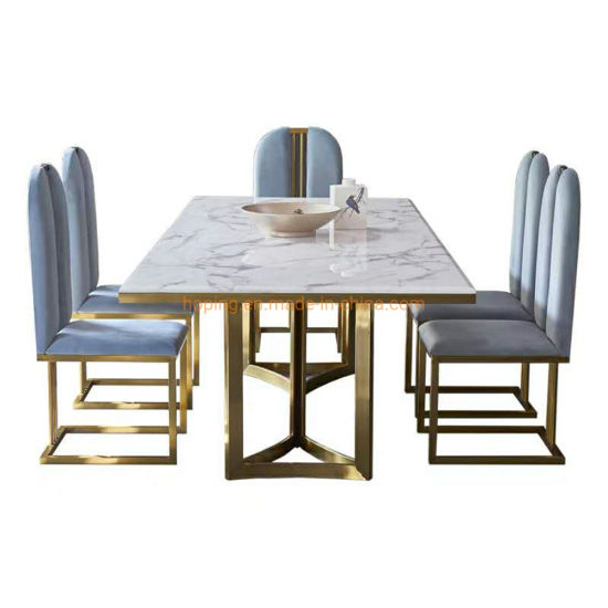 Factory Direct Metal Frame Table and Chair Modern Dining Table Set Chinese Hotel Furniture