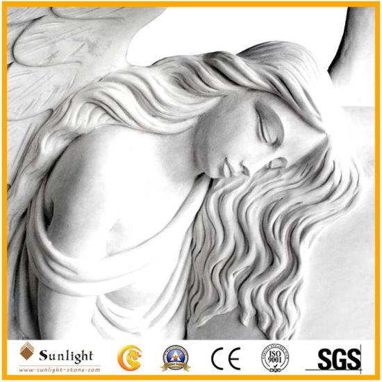 China Marble Tombstone Producer European Hunan White Marble Angel Heart Monument