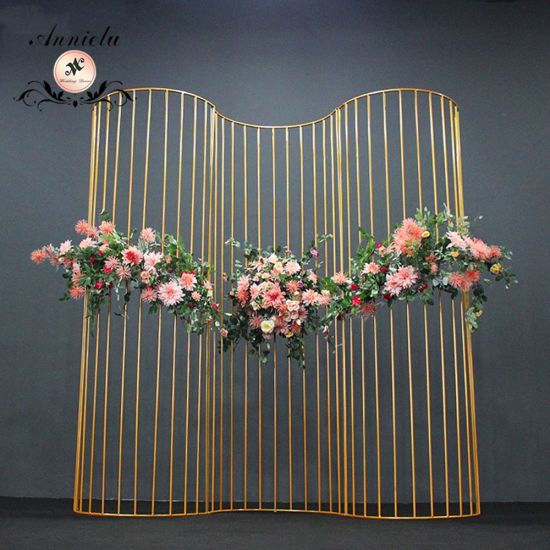 Wedding Style Iron Stage Backdrop Line Semicircular Screen Background Decoration