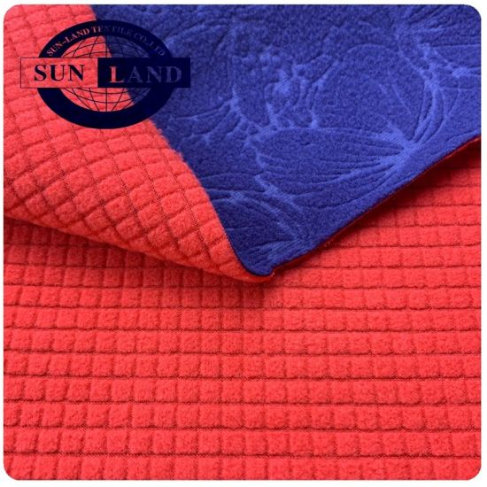 100% Poly Embossed Interlock Knitted Fabric Bonded Check Microfibre Fleece for Winter Cloth pictures & photos