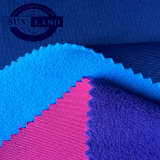 Polyester Knitted Interlock Compound Polar Fleece Bonded Fabric for Aw Jacket Garment pictures & photos