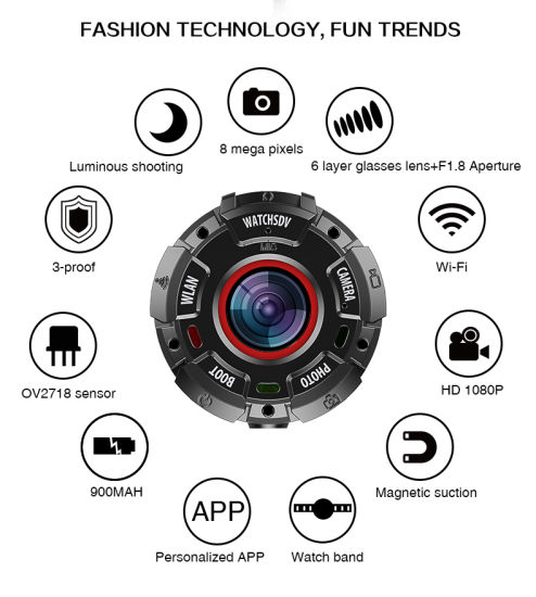 Outdoor Waterproof Sports Video Mini Camera with Strong Magnetic