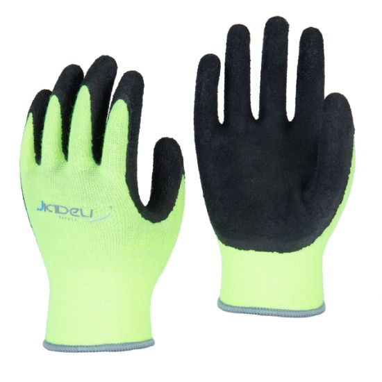 13 Gauge Cotton/Spandex Brushed Liner Safety Glove Coated with Black Foam Latex