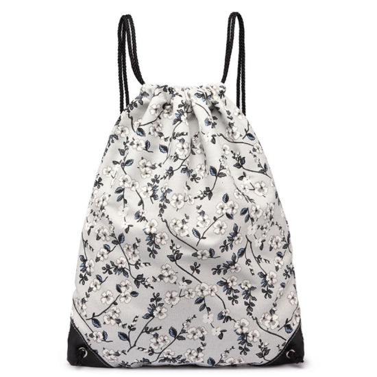 New Style Fashion Recycled Cotton Canvas Custom Print Drawstring Backpack Bag