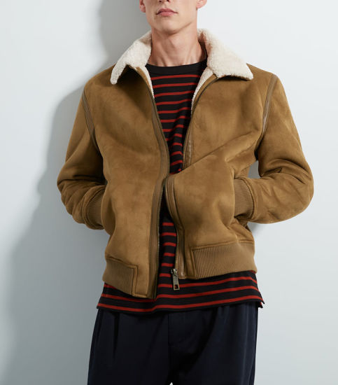 Custom Wool Collar Jacket Wholesale Suede Shearling Jacket Men