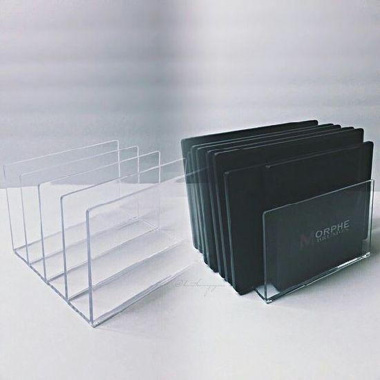 Crystal Clear Acrylic Desktop File Sorter Holder Lucite Mail Paper Folder Organizer Eyeshadow Makeup Palette And Electronics