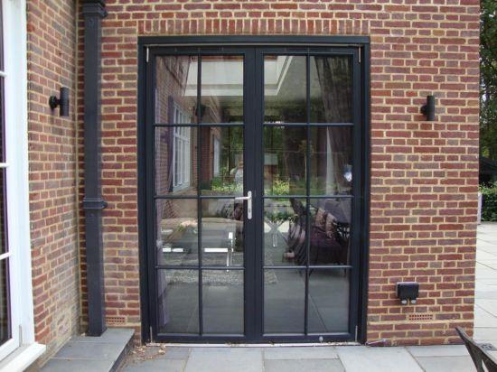 Thermal Break Alumium Double Glass Grilled Design French Door Casement Door & Grilled Glass Doors u0026